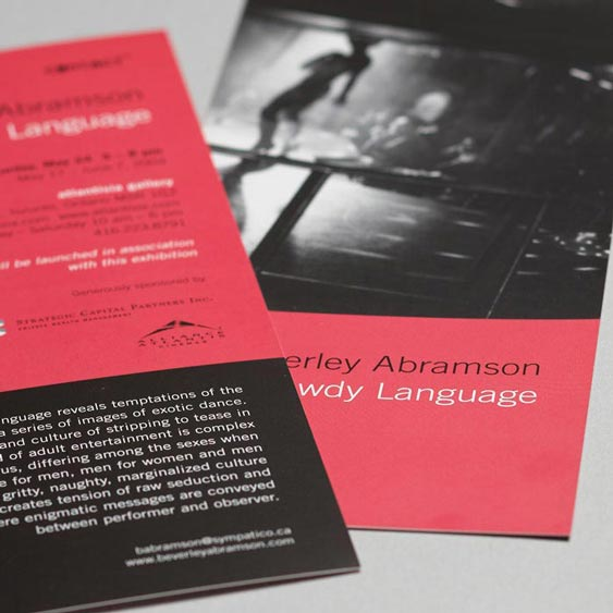 Beverley Abramson Bawdy Language - Photographer's Photographer's Monograph/Book Launch Invitation design by Filip Jansky