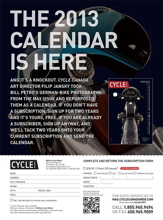 Cycle Canada Magazine Subscription and Calendar Ad design by Filip Jansky