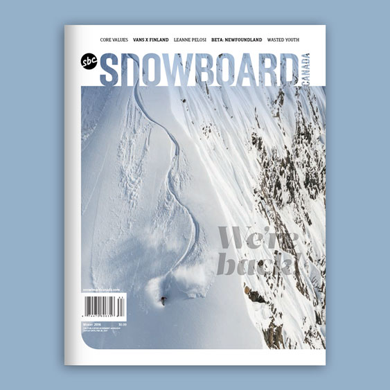 Snowboard Canada 24.1 magazine cover designed by Filip Jansky