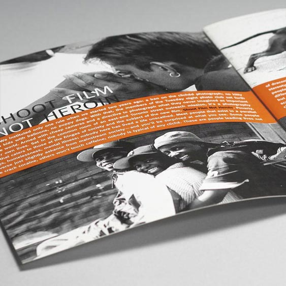 Shoot Film Not Heroin - Documentary Film Pitch Presentation intro spread design by Filip Jansky